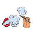 smoking female lips and electronic cigarette in vector image vector image