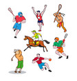 sports mascot cartoon set vector image vector image