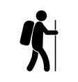 stick figure man backpacking hiking holding a vector image