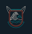 summer beach surf badge icon in line art vector image
