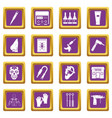 tattoo parlor icons set purple vector image vector image