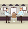 two bearded barbers doing vector image