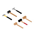 various hammers and mallet isolated on white vector image
