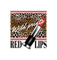 wild prints red lips hand drawn of vector image vector image