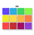 year 2018 calendar with colorful months week vector image