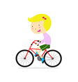 Cute happy girl riding bicycle vector image