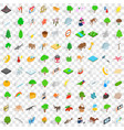 100 national park icons set isometric 3d style vector image vector image
