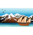 A boat floating near the mountain area vector image