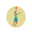 Basketball Player Lay Up Rebounding Ball Low vector image vector image