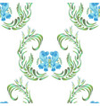 blue seamless flower pattern vector image vector image