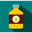 Bottle with medical marijuana icon flat style vector image
