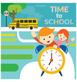 Boy and Girl Student Riding Alarm Clock to School vector image