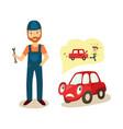 cartoon car character and mechanic vector image