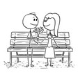 cartoon loving couple sitting on park bench or vector image