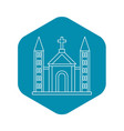 catholic church building icon outline style vector image vector image