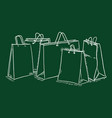 chalk sketch set shopping bags in a row vector image vector image