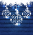 Christmas balls made in snowflakes on blue wooden vector image vector image