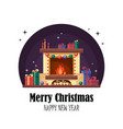 christmas fireplace with gifts clock and candle vector image vector image