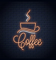 coffee neon banner coffee cup neon sign on wall vector image vector image