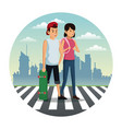 couple crossing street city background vector image