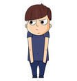cute cartoon boy with jealous emotions vector image