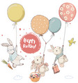 cute hares in balloons vector image