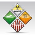 Danger round corner warning sign set vector image vector image
