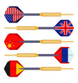 dart arrows small missiles with flags of countries vector image vector image