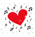 Decoration of musical notes with red heart grunge vector image