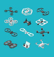 different isometric 3d drones aerial delivery and vector image vector image