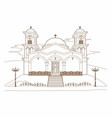 drawing of a religious building vector image vector image
