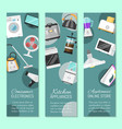 electronic household appliances set banners vector image vector image