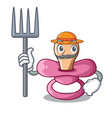 farmer character childrens pacifiers for the vector image