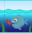 fish under water on the hook with a label sales vector image vector image