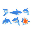 flat set big blue shark marine fish vector image vector image