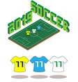 football soccer field isometric template 2019 vector image vector image