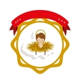 frame sticker with baby jesus and label vector image