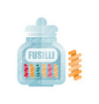 fusilli dry pasta in a transparent glass container vector image vector image