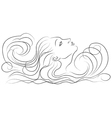 Girl in the waves vector image vector image