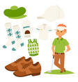 golf player clothes and accessories golfing club vector image vector image