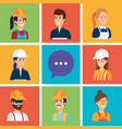 group of workers and speech bubble vector image vector image