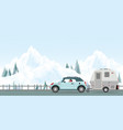happy couple driving car on road in winter vector image vector image