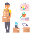 happy young boy flat people moving in new vector image