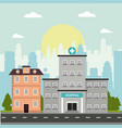 hospital and house building story facade vector image vector image