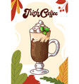 irish coffee cup hot drink for christmas menu vector image vector image