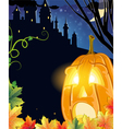 Jack O Lantern near the old castle vector image vector image