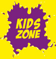 Kids zone label splash icon