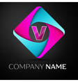 Letter V logo symbol in the colorful rhombus vector image vector image