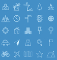 Location line icons on blue background vector image