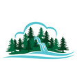 mountain waterfall vector image vector image